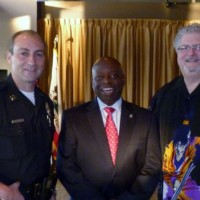Tustin Police Captain Charlie Solano, Mayor Al Murray and Council member Alan Bernstein